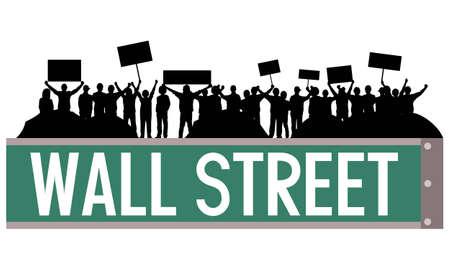 標識やウォール街のサインを占めるテントとデモ