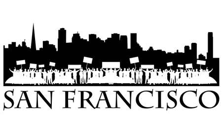 occupying: Demonstration with signs and tents occupying San Francisco downtown. Illustration
