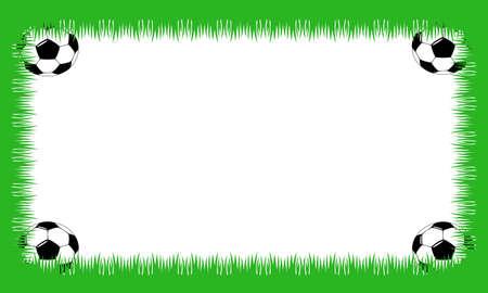 Fiche avec des boules de l'herbe et le soccer dans les coins Banque d'images - 11092677