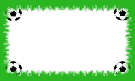 soccer field: Sheet with grass and soccer balls in corners