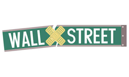 labor market: Broken Wall street sign with bandage