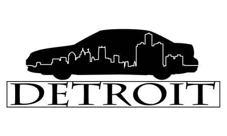 デトロイト市の高層建築スカイライン。