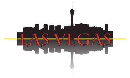 City of Las Vegas high-rise buildings skyline. Vector