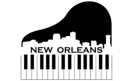ピアノを持つニユー ・ オーリンズ市高層スカイライン