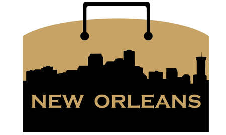 City of New Orleans high rise skyline with shopping bag Illustration