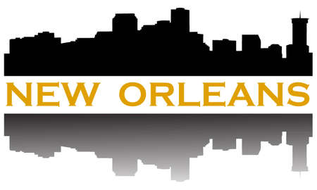 City of New Orleans high rise skyline Illustration