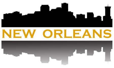 City of New Orleans hoogbouw skyline Stock Illustratie