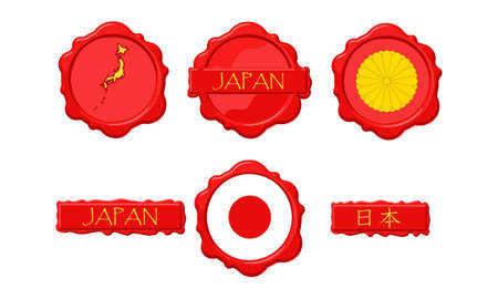 Japan wax stamps with flag, seal, map and name. Illustration