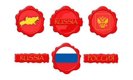 러시아 플래그, 인감,지도 및 이름 스탬프를 스탬프 처리합니다.