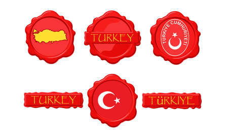 Turkey wax stamps with flag, seal, map and name. Stock Vector - 11380049