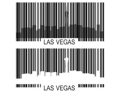 City of Las Vegas high-rise buildings skyline with barcode Vector