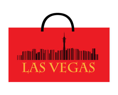 City of Las Vegas high-rise buildings skyline with shoppin bag Vector