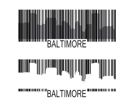 City of Baltimore high-rise buildings skyline with barcode
