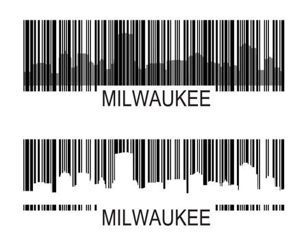 milwaukee: City of Milwaukee high-rise buildings skyline with barcode Illustration