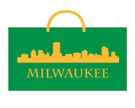 milwaukee: City of Milwaukee high-rise buildings skyline with shoppin bag