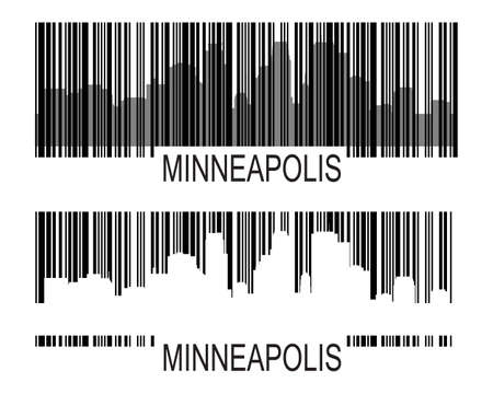 City of Minneapolis high-rise buildings skyline with barcode Çizim