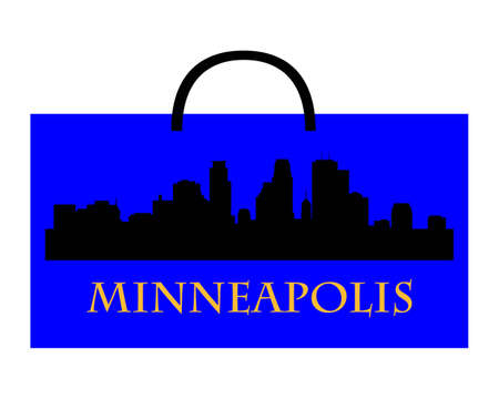 City of Minneapolis high-rise buildings skyline with shoppin bag Stock Vector - 11664268