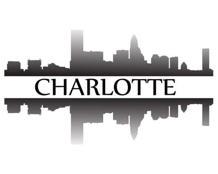 City of Charlotte high rise buildings skyline Illustration