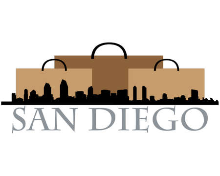 san diego: City of San Diego high rise buildings skyline Illustration