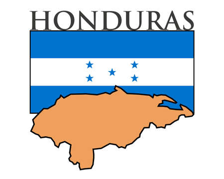 Illustration of Honduras  flag, map and name.