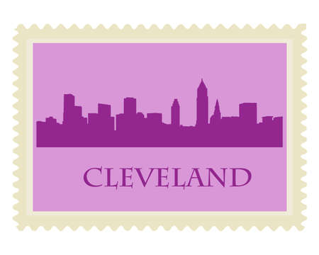 City of Cleveland high-rise buildings skyline Vector