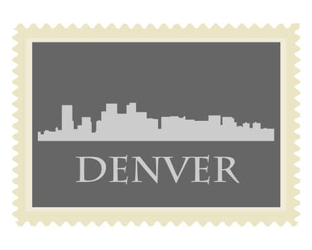 denver skyline with mountains: Denver city high-rise buildings skyline with stamp Illustration