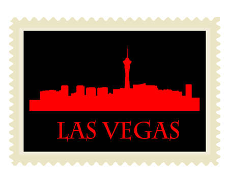 City of Las Vegas high-rise buildings skyline with stamp Vector