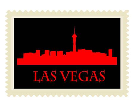 Stad van Las Vegas hoogbouw skyline met stempel