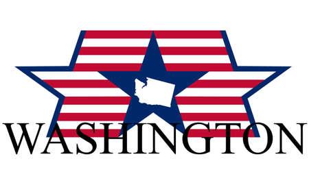 Washington state map, flag, and name. Иллюстрация