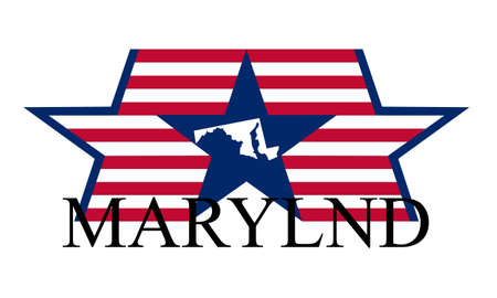 Maryland state map, flag, and name. Vector