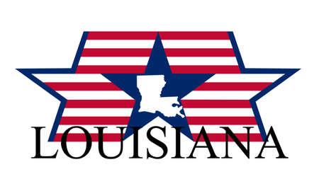 Louisiana state map, flag, and name. Ilustracja