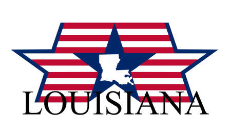 new orleans: Louisiana state map, flag, and name. Illustration
