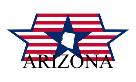 Arizona state map, flag and name. Vector