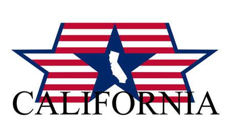 カリフォルニア州の地図、フラグと名前です。  イラスト・ベクター素材