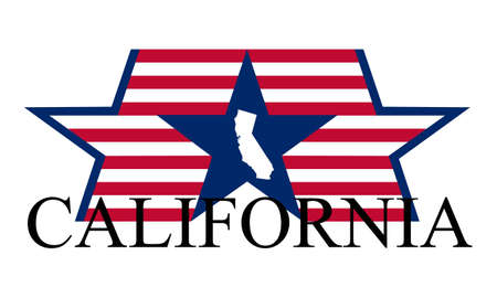 California state map, flag and name. Vector