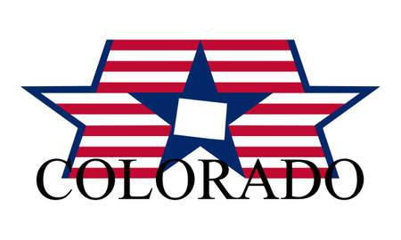 Colorado state map, flag, seal and name.