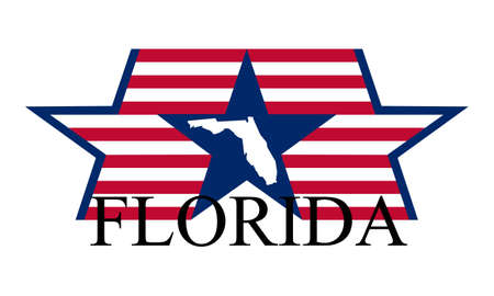 Florida state map, flag and name. Vector