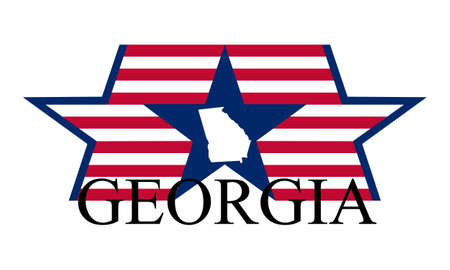 georgia flag: Georgia state map, flag, seal and name.