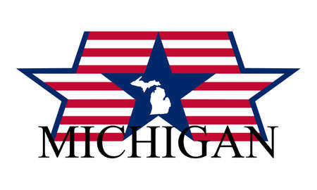 Michigan state map, flag and name. Vector