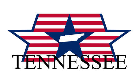 Tennessee state map, flag and name. Vector
