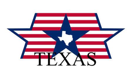 Texas state map, vlag en naam.