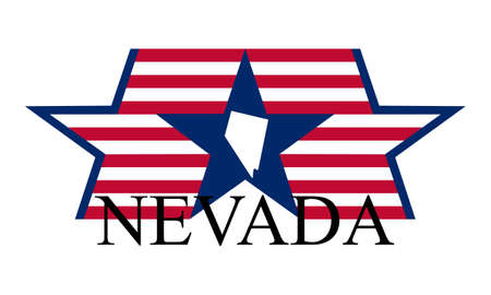 Nevada state map, flag, and name. Illustration