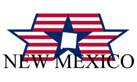 albuquerque: New Mexico state map, flag, and name.