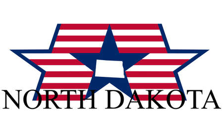 bowman: North Dakota state map, flag, and name.