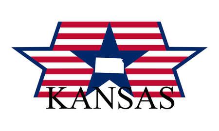 Kansas state map, flag, and name.