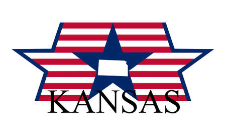 liberal: Kansas state map, flag, and name.