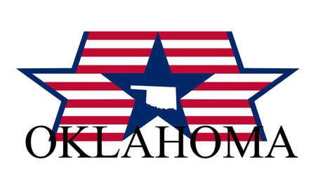 Oklahoma state map, flag, and name. Illustration