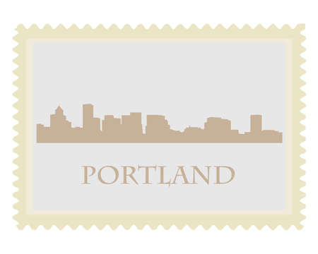 City of Portland high-rise buildings skyline stamp Stock Vector - 12486283