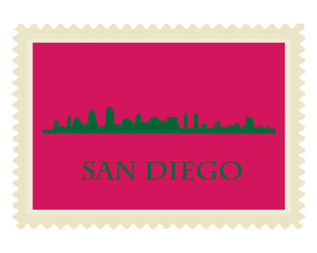 san diego: San Diego high rise buildings skyline stamp Illustration