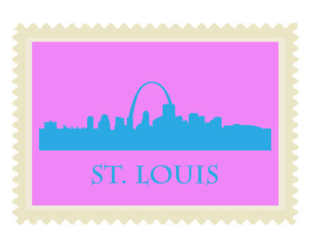 louis: City of St  Louis high-rise buildings skyline stamp